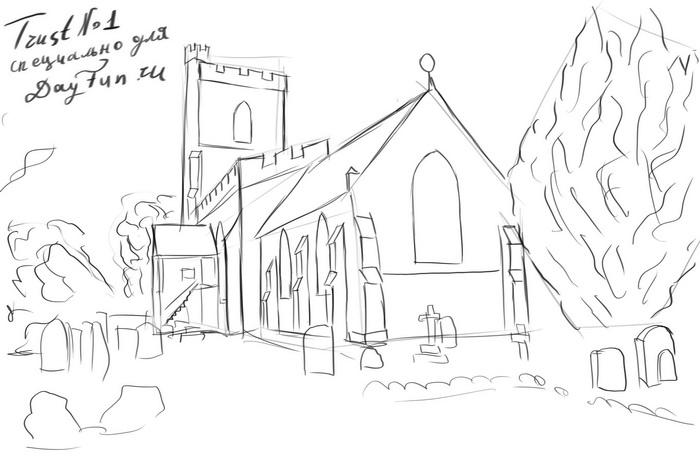 700x466 How To Draw A Church Step By Step