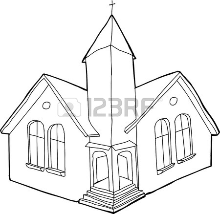 450x438 Single Outline Christian Church In White And Black Royalty Free