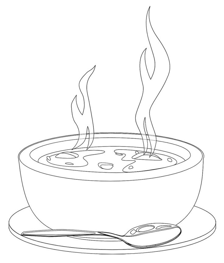 736x865 Bowl Of Soup Drawing