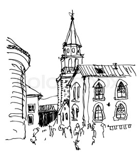 273x320 Black And White Ink Sketch Line Drawing Of Prague Old Town Top