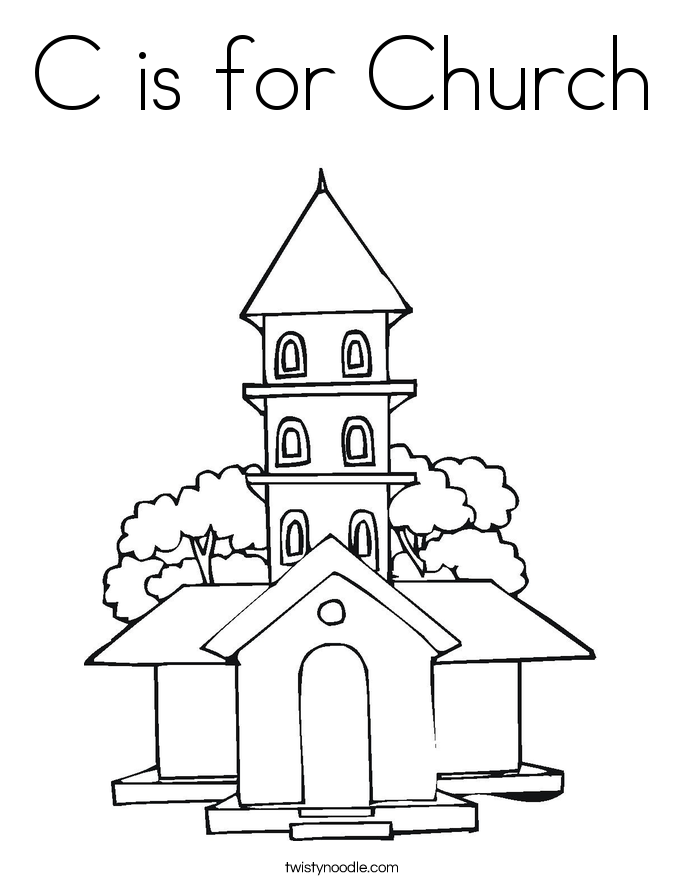 685x886 C Is For Church Coloring Page