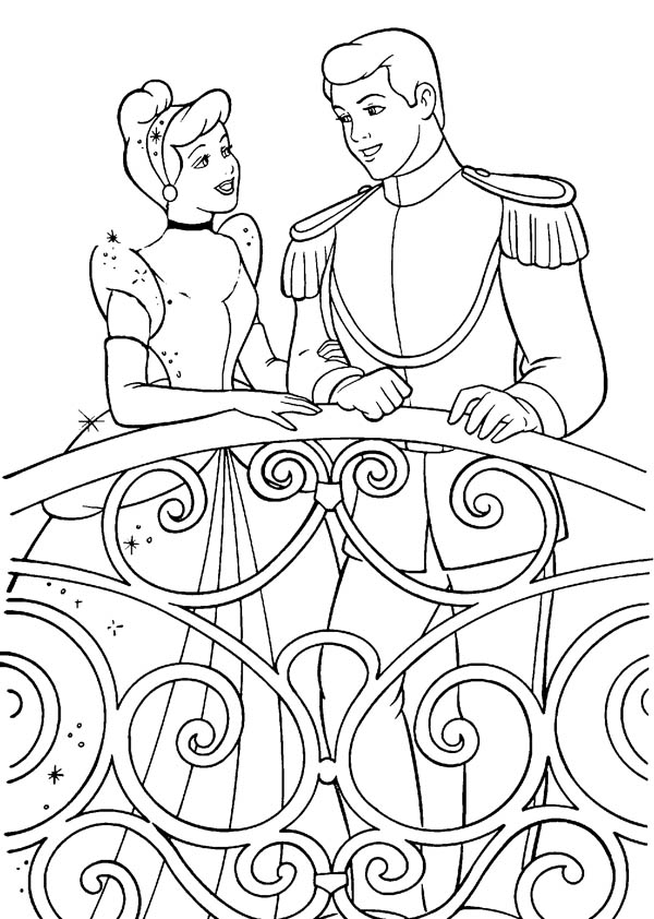 600x842 Cinderella Talking To Prince Charming In Cinderella Coloring Page