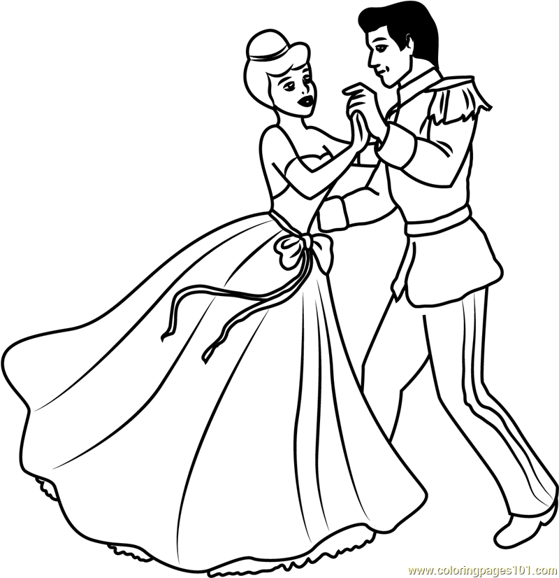 800x826 Disney Best Couple Prince And Cinderella Coloring Page
