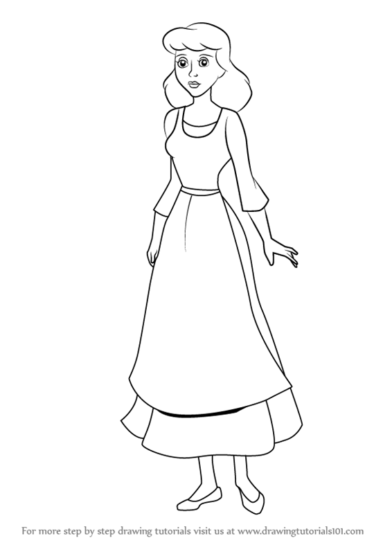 566x800 Learn How To Draw Peasant Cinderella (Cinderella) Step By Step