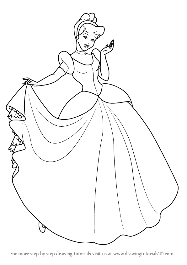 596x843 Learn How To Draw Princess Cinderella (Cinderella) Step By Step