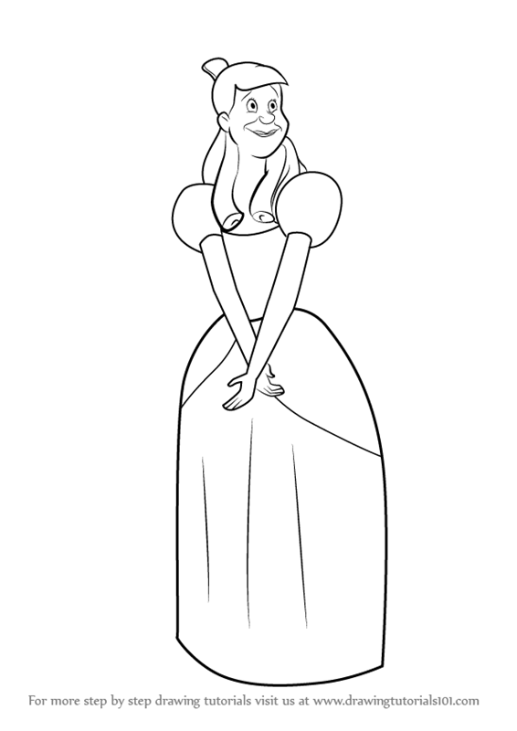 566x800 Step By Step How To Draw Anastasia From Cinderella