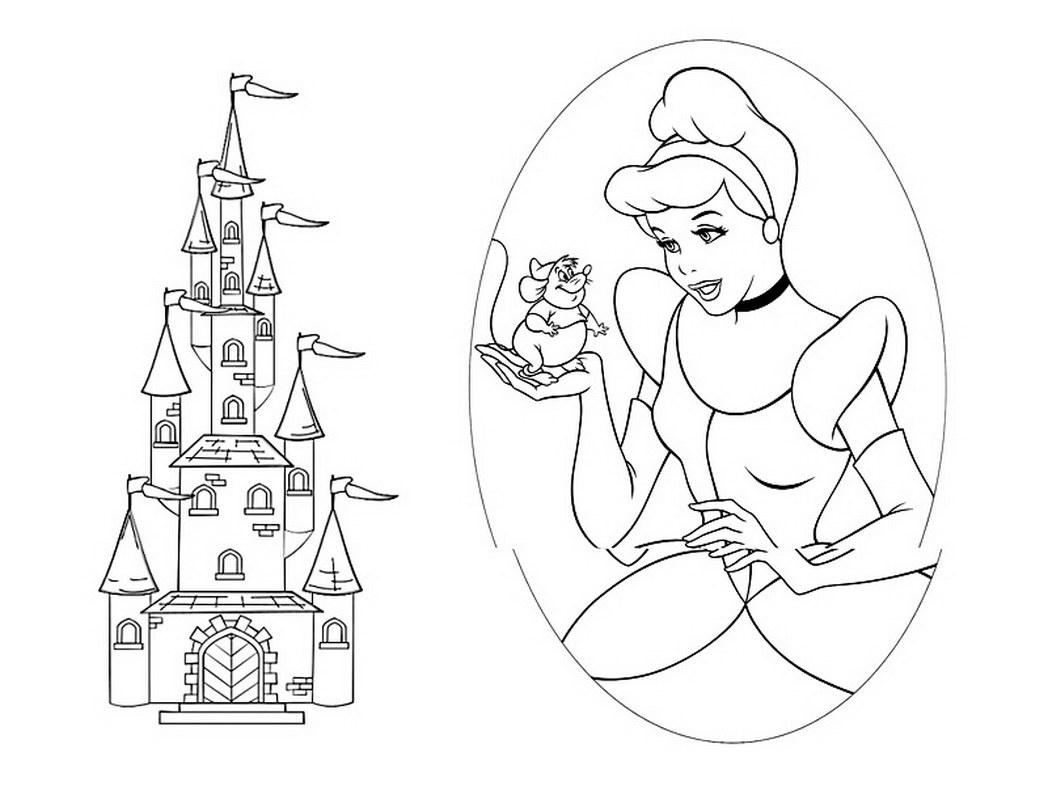 1048x786 Cinderella Castle Coloring Pages