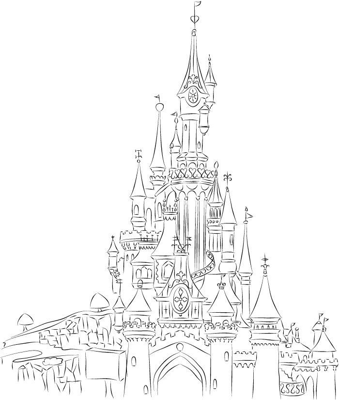 700x825 Disneyland Paris Castle Line Art By