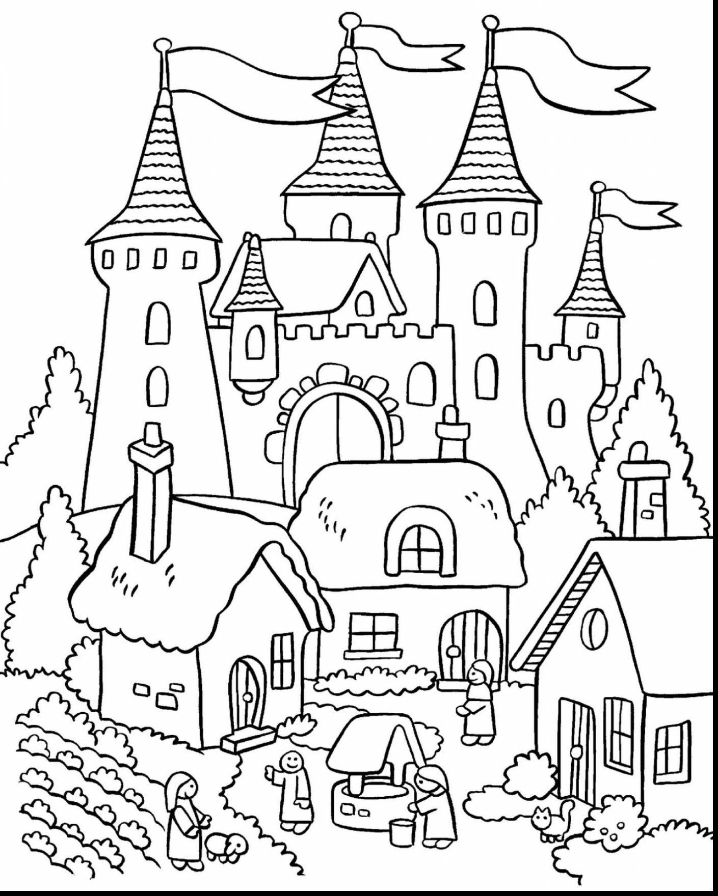 1409x1760 Castle Coloring Pages