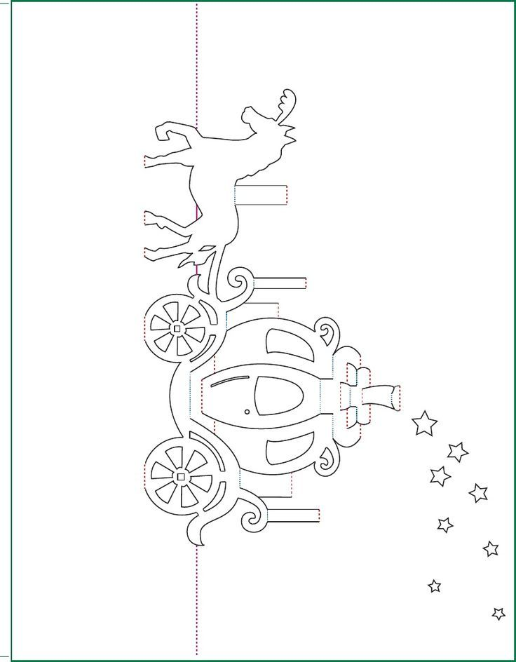 736x944 Cinderella Carriage Pop Up Card Free Paper Craft Template Download