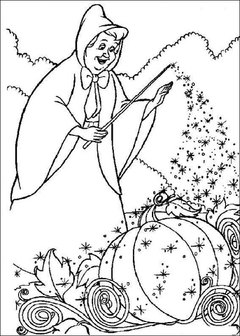 343x480 The Fairy Want To Help Cinderella To Make Her Cart Coloring Page