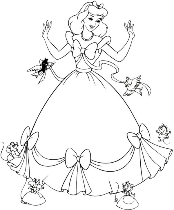 600x722 Cinderella Dress Coloring Page
