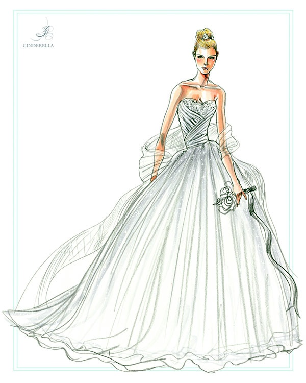 600x750 Cinderella Wedding Gown Sketch Lily James Wearing Elie Saab