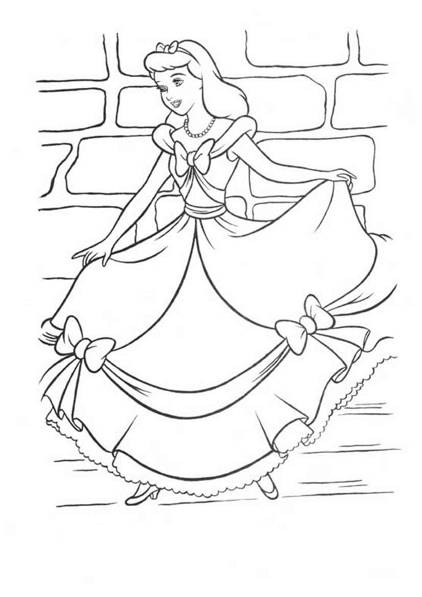 826x1169 Cinderella In Her New Dress Free Coloring Pages
