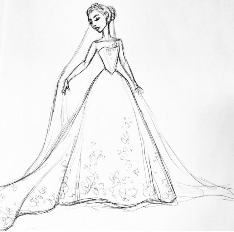 how to draw cinderella dress