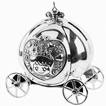 355x355 Bambino Silver Plated Cinderella Pumpkin Coach Money Box Savings