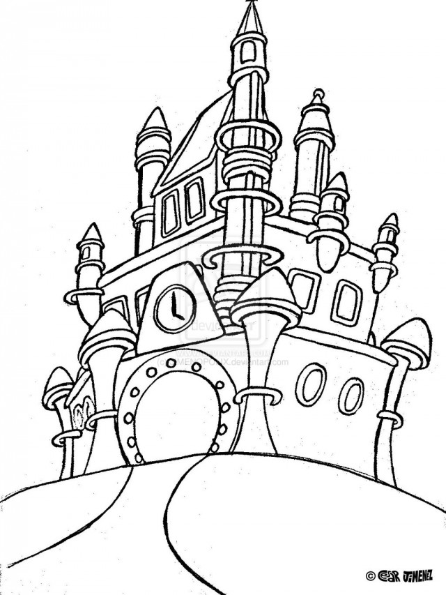 640x853 Cinderellas Castle Coloring Pages