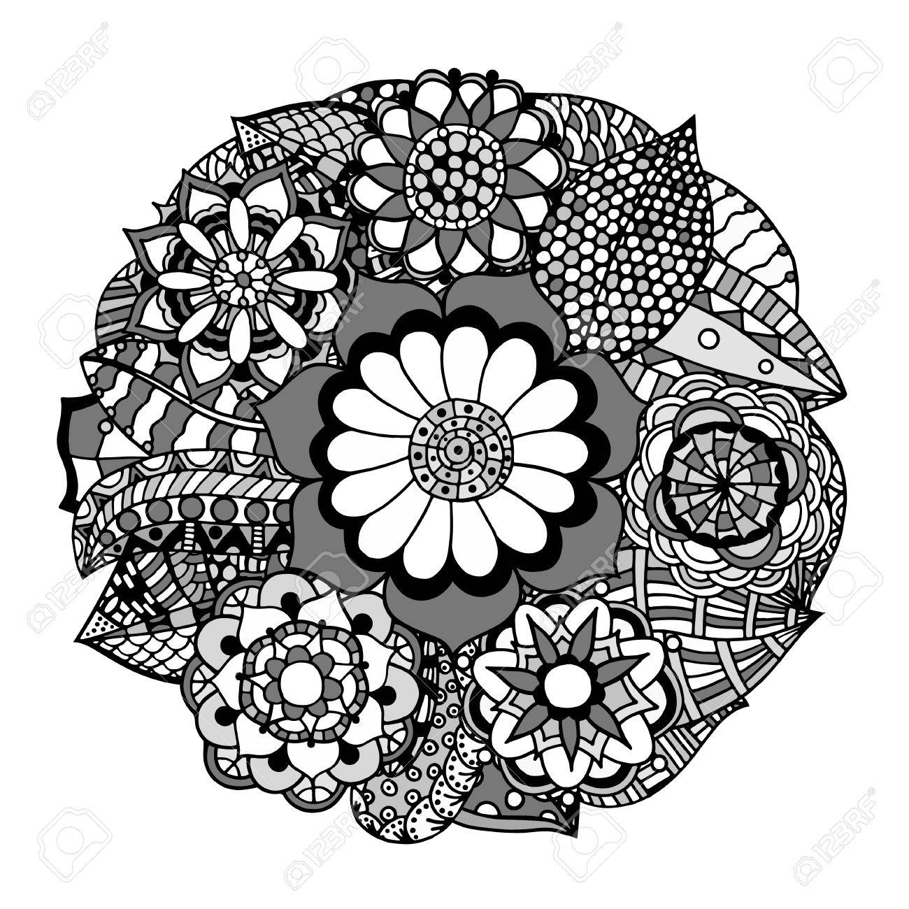 1300x1300 Black And White Circle Flower Ornament, Ornamental Round Lace