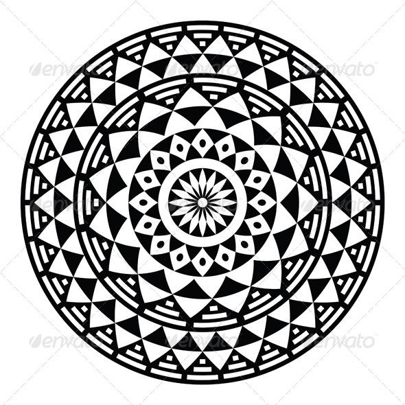590x590 Tribal Aztec Geometric Pattern Or Print In Circle By Redkoala