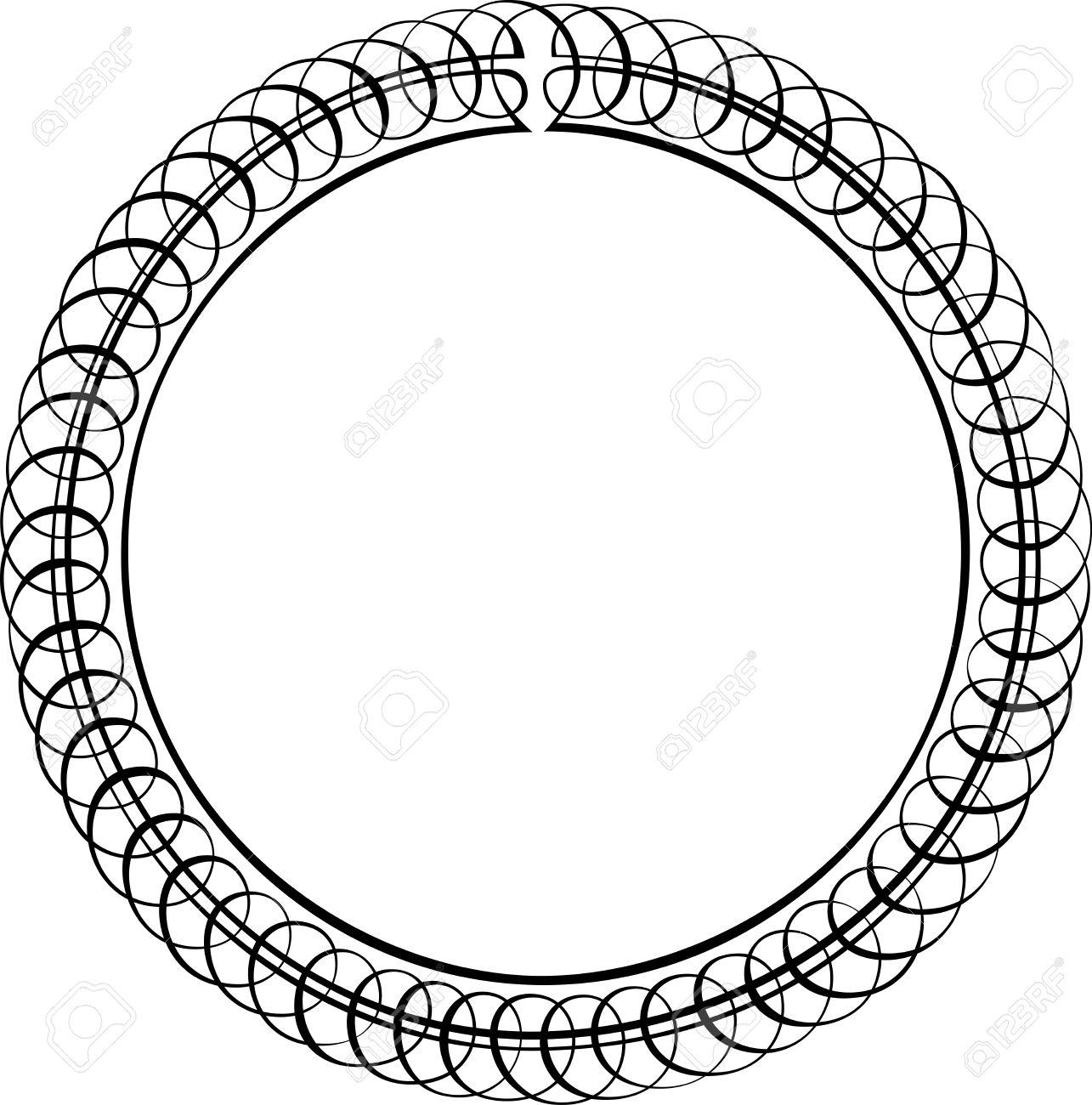 1285x1300 Calligraphic Vector Design Border, Circle Shape Royalty Free