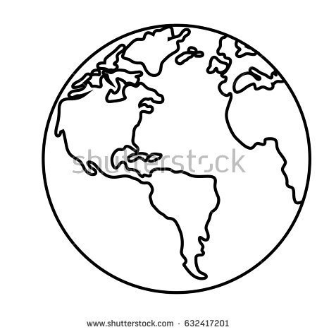 450x470 World Outline Illustration Outline Drawing Planet Stock