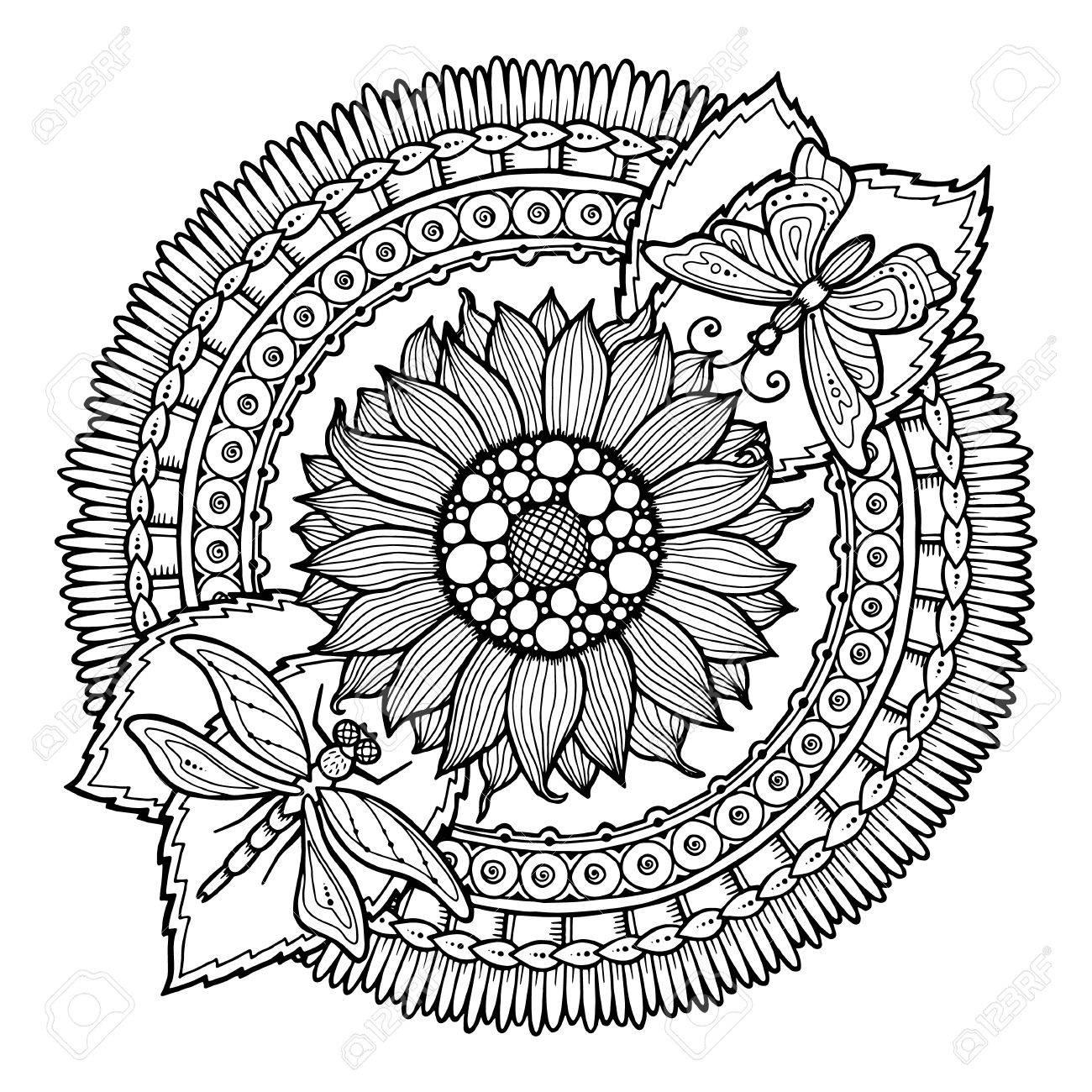 1300x1300 Circle Summer Doodle Flower Ornament. Hand Drawn Art Mandala