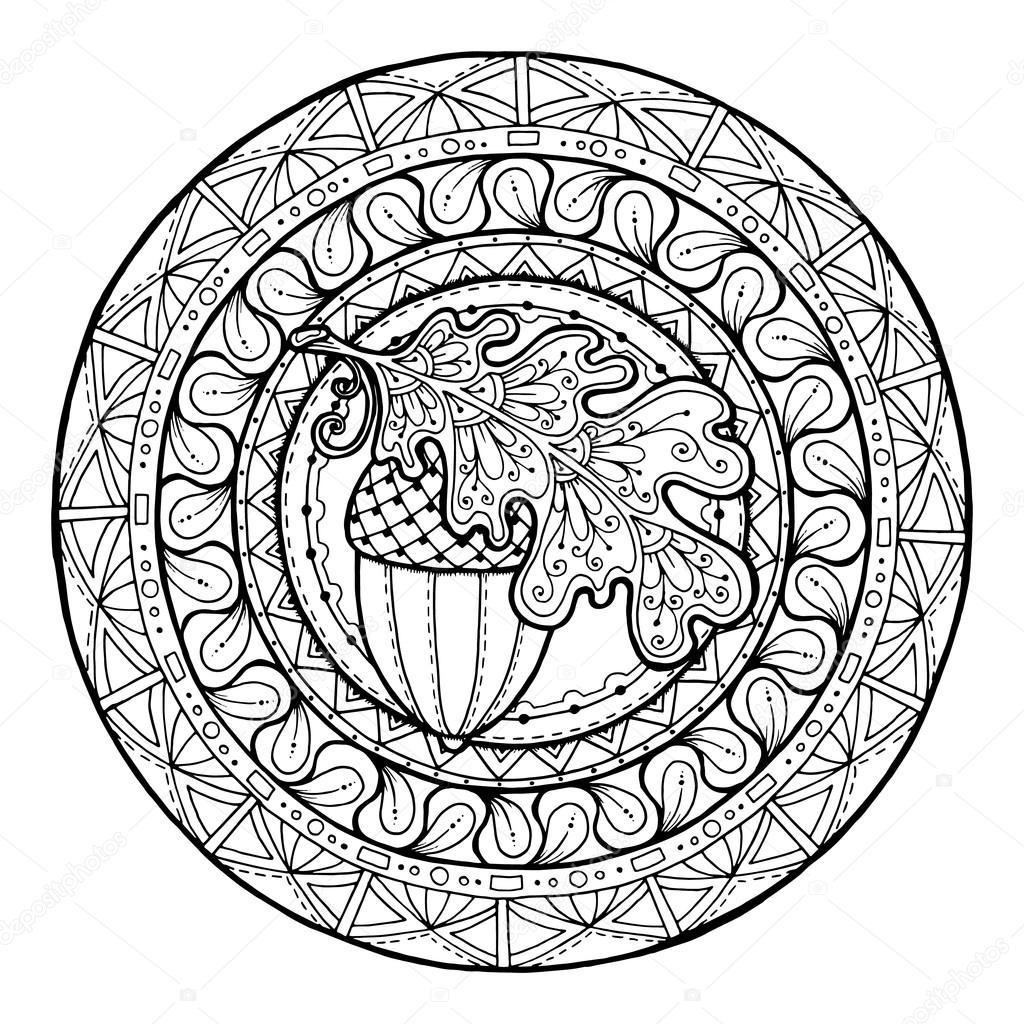 1024x1024 Circle Autumn Leaf Ornament. Hand Drawn Art Winter Mandala. Made