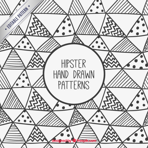 626x626 Hand Drawn Hipster Triangles Pattern Vector Free Download
