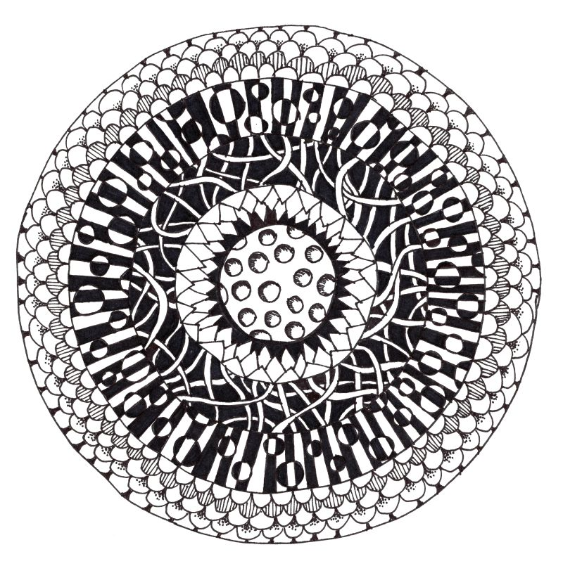 800x805 How To Make A Cool Bullseye Tangle Drawing Craftwhack