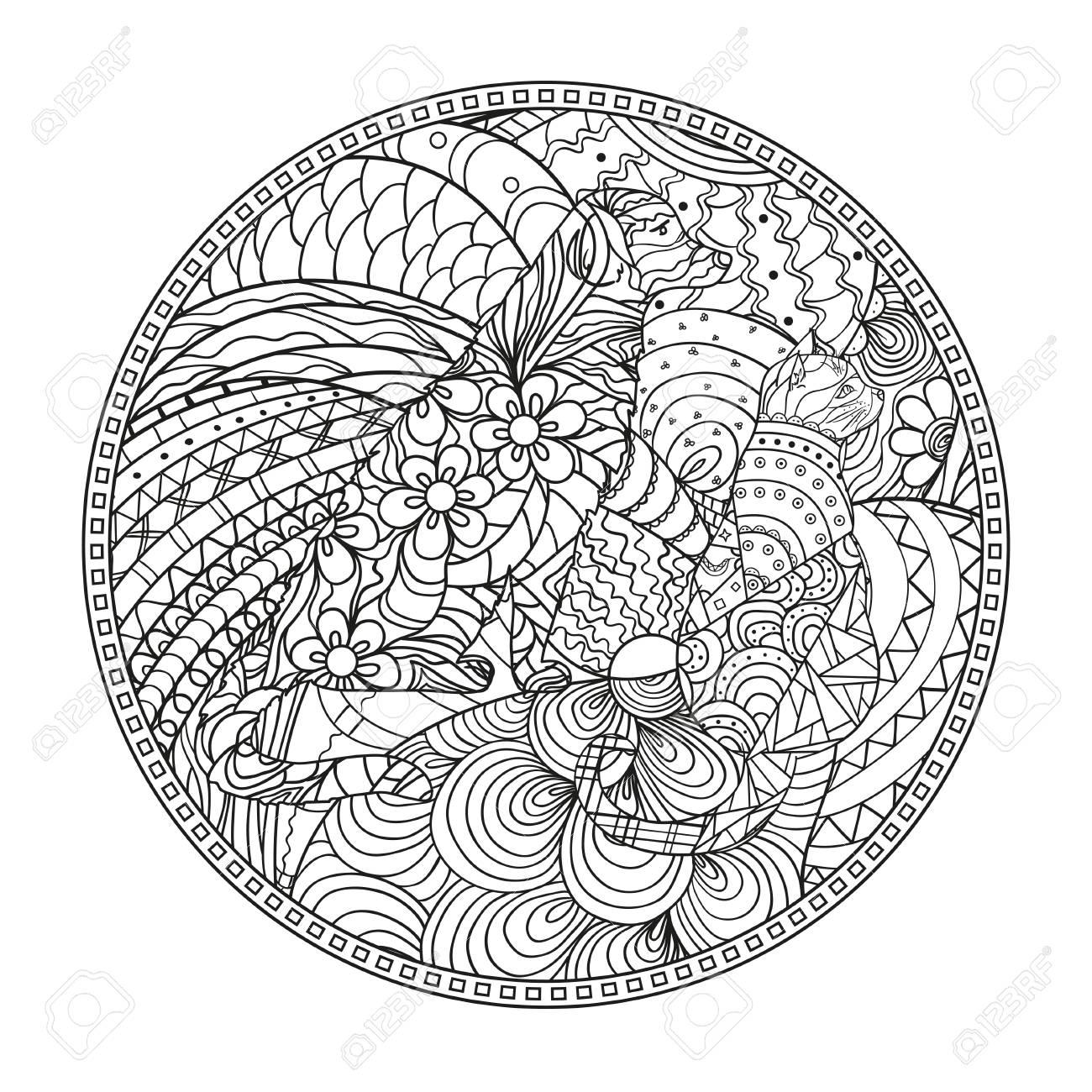 1300x1300 Mandala With Dog And Cat. Zentangle. Hand Drawn Circle Zendala