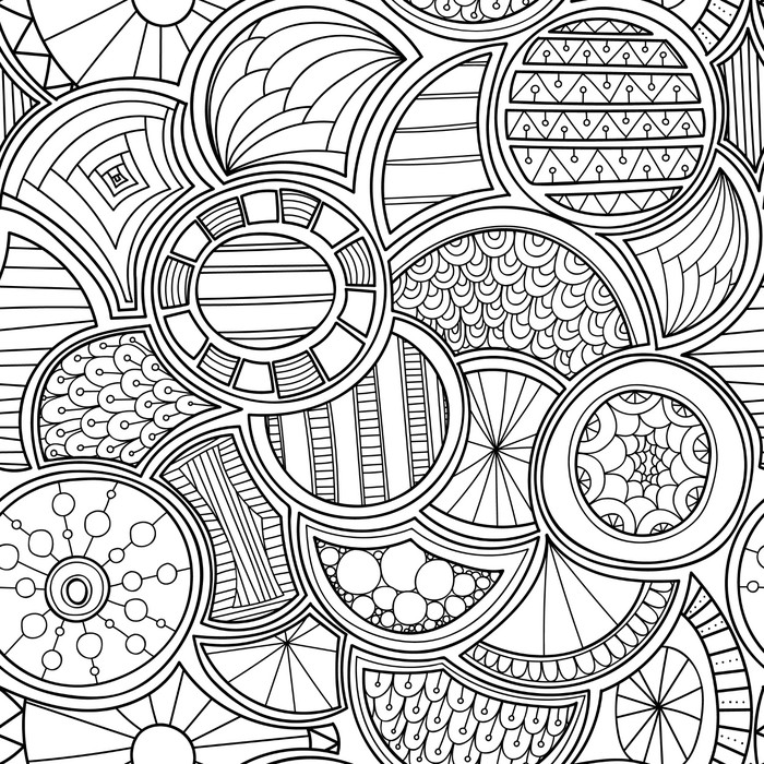 700x700 Zentangle Style Circles Seamless Pattern. Doodle Black And White