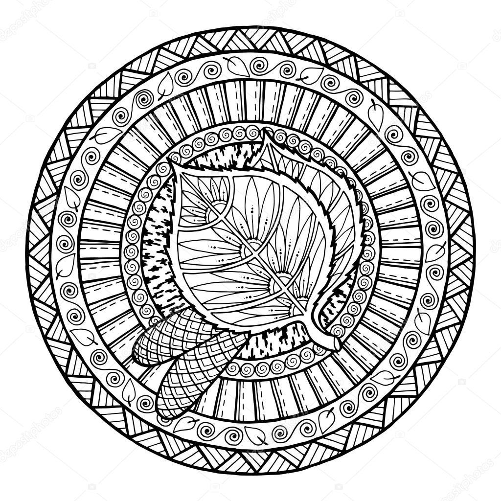 1024x1024 Autumn Theme. Circle Tribal Doodle Ornament. Hand Drawn Birch Leaf