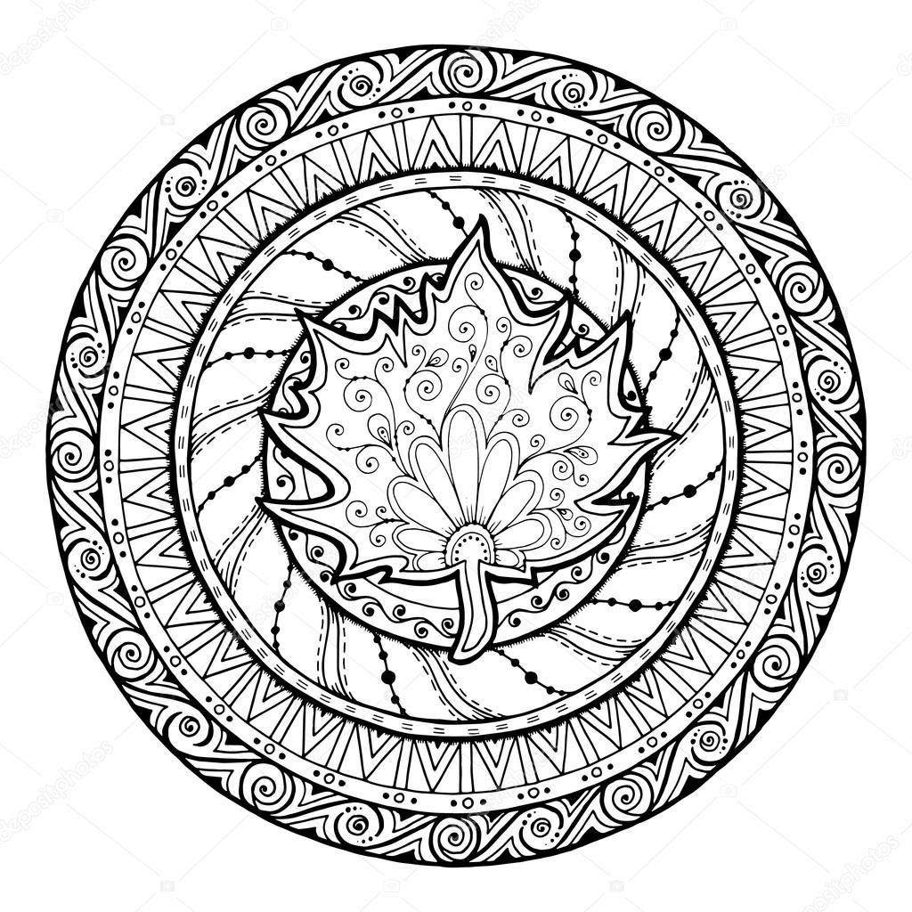 1024x1024 Autumn Theme. Circle Tribal Doodle Ornament. Hand Drawn Maple Leaf