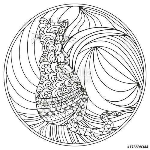 500x500 Cat. Mandala. Design Zentangle. Hand Drawn Circle Zendala With Cat