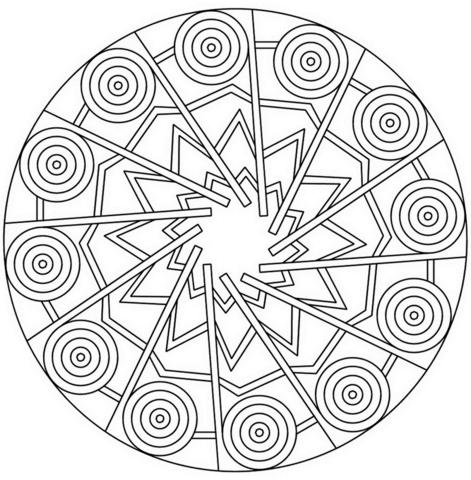 471x480 Mandala With Stars And Circles Coloring Page Free Printable