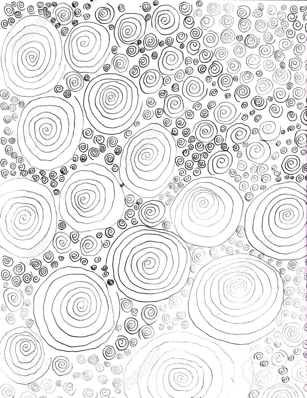 1005x1300 Abstract Obsessive Circles Drawing Stock Photo, Picture