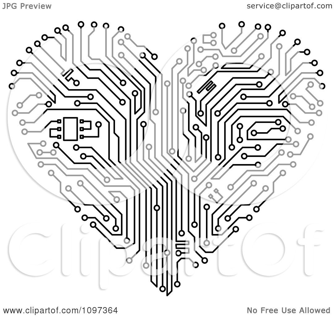 Circuit Board Drawing At Free For Personal Use Vector Background Graphics All Web 1080x1024 Clipart Black And White Heart