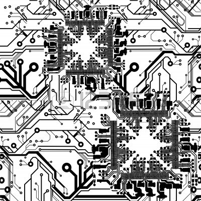 400x400 One Color Printed Circuit Board Pattern Vector Drawings