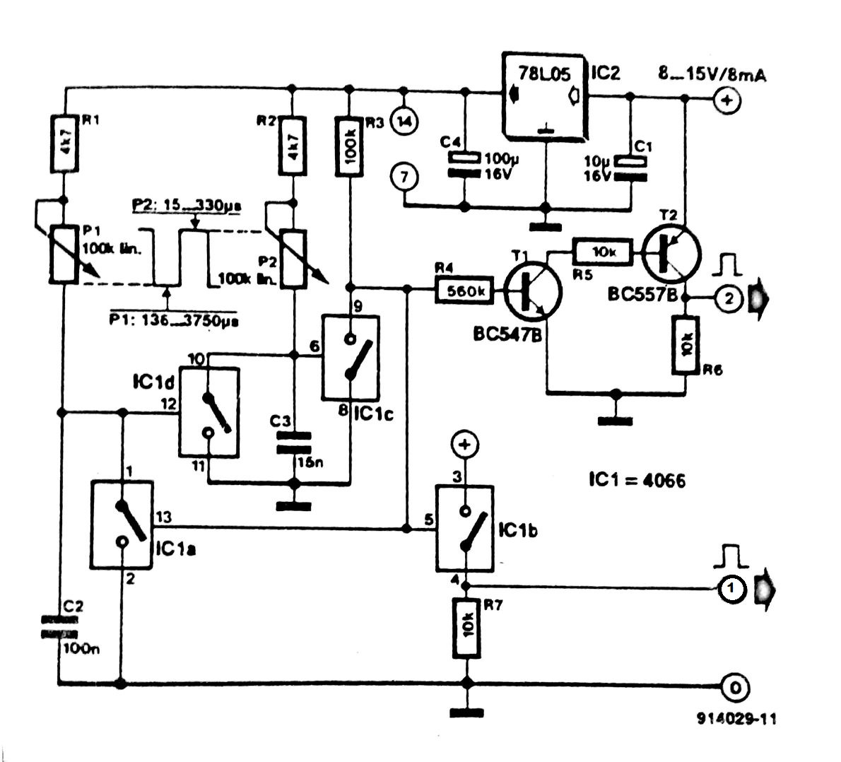1190x1078 Pulse Generator With One 4066 Circuit Diagram
