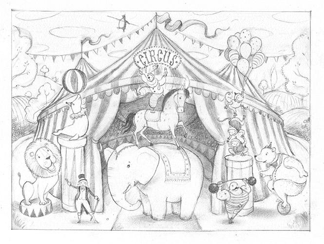 665x501 Circus Drawing