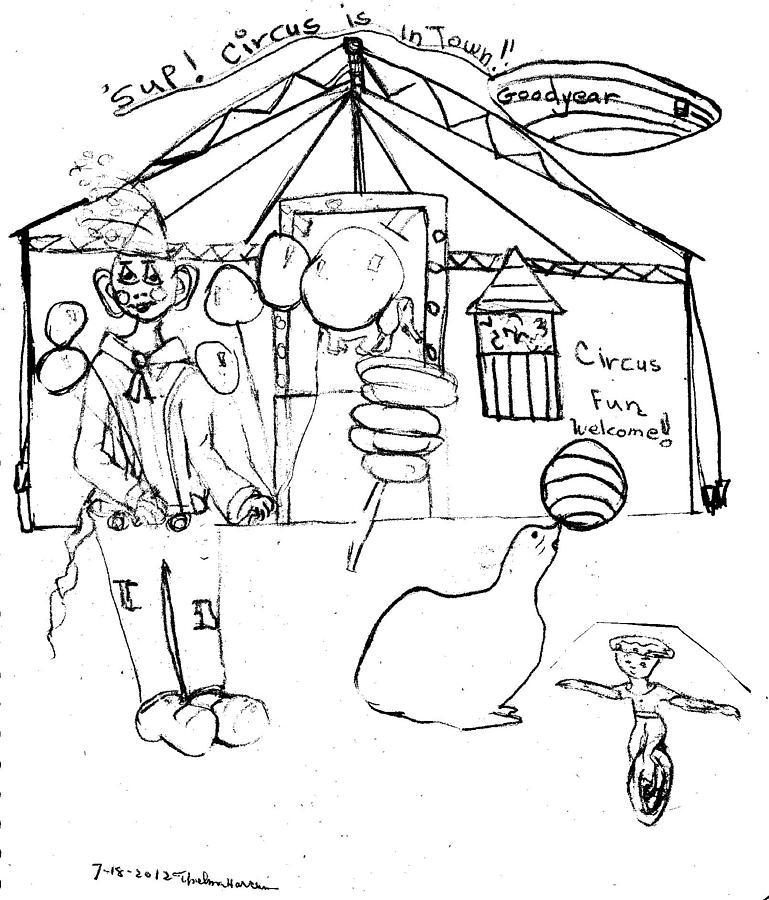 769x900 Circus Fun Drawing By Thelma Harcum