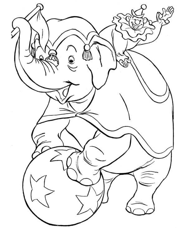 600x734 Circus Elephant And Circus Clowns Coloring Page Coloring Sun