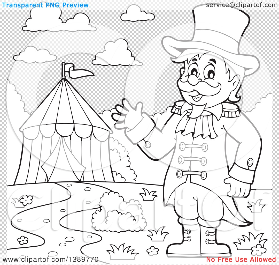1080x1024 Clipart Of A Black And White Lineart Circus Ringmaster Man Waving