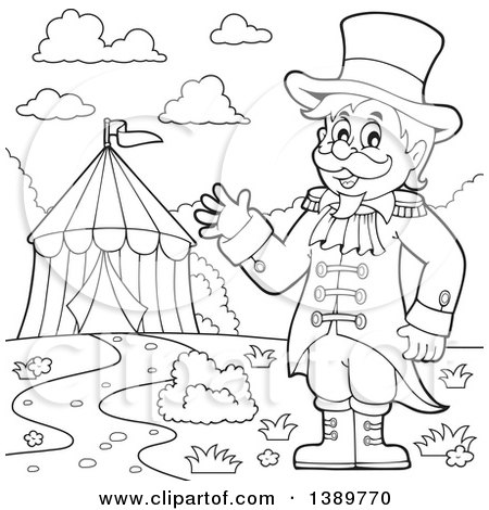 450x470 Clipart Of A Cartoon Circus Ringmaster Man Waving