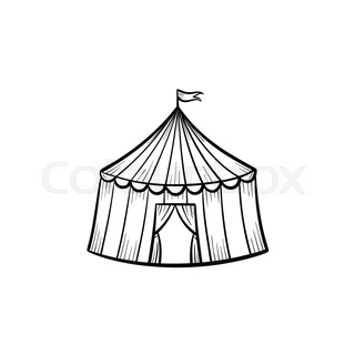 320x320 Circus Tent Vector Sketch Icon Isolated On Background. Hand Drawn