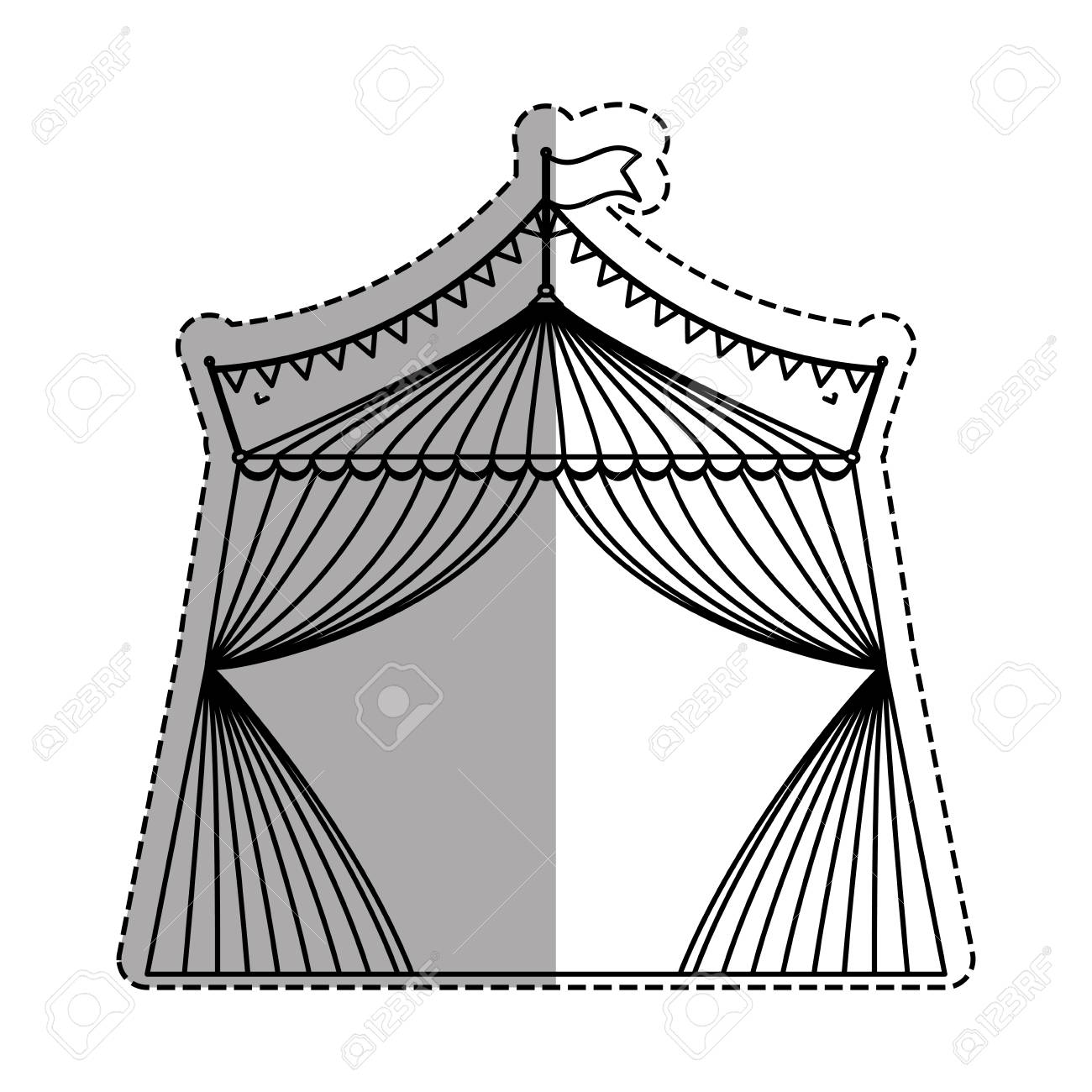 1300x1300 Circus Tent Festival Icon Vector Illustration Graphic Design