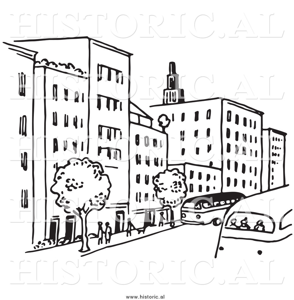 1024x1044 Clipart Of A City Street With Buildings, Trees, People, And Buses
