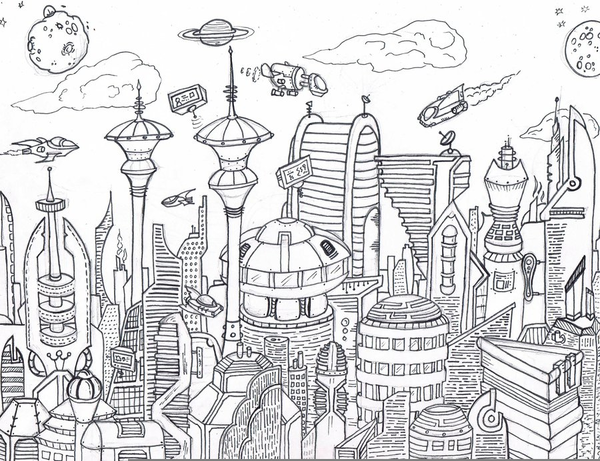 600x461 Future Cities Drawing Free Images