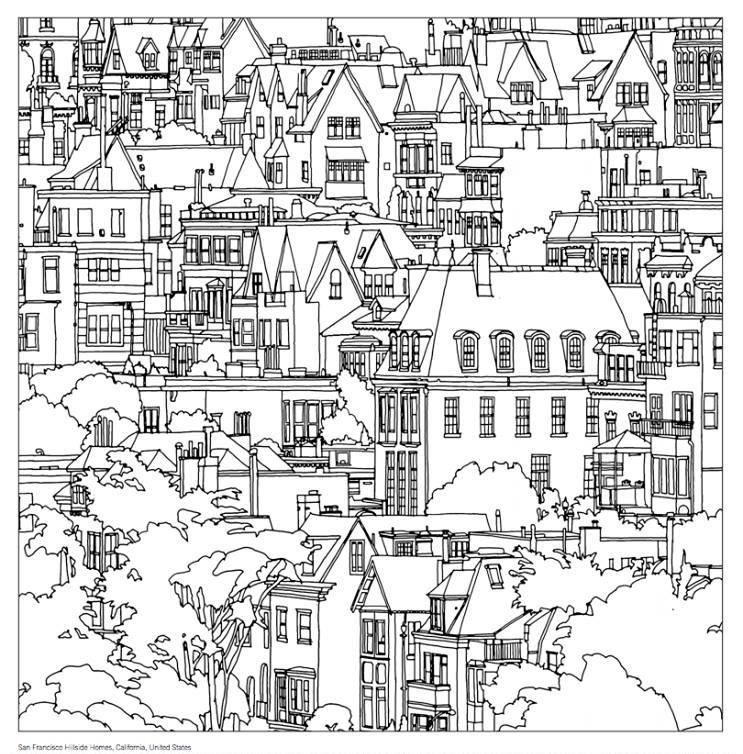 743x754 San Francisco, Steve Mcdonald's Colouring Book Fantastic Cities