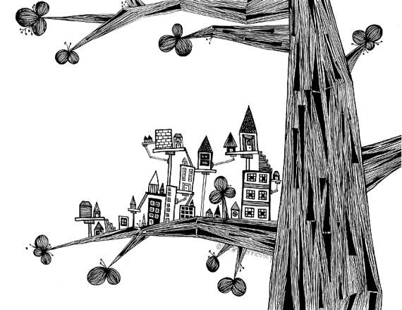 570x439 A Little City On The Three , Pen Drawing. Doodle